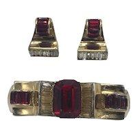 1940s Corocraft Art Deco Gold Tone Hinged Bracelet and Earrings Set