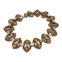 1950s Amber-Color Rhinestone and Clear Baguette Gold-tone Link Bracelet