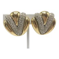 """1980s Ciner """"V"""" Shape Rhinestone and Gold-color Clip-on Earrings"""