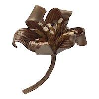 Dimensional Bronze Celia of Paris Handmade Flower Brooch