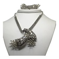 Vintage Rhinestone and Faux Pearl Spray Pendant and Earrings Set