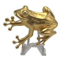 Doreen Ryan Large Matte-Gold Color Tree Frog Brooch