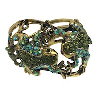 Multi-Frog Hinged Bracelet with Stones and Enamel