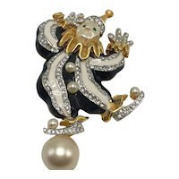 KJL Balancing Act Clown Brooch with Pearlized Face and Ball