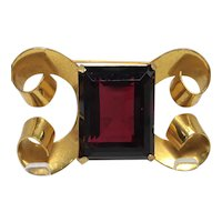 Vintage Coro Sterling Vermeil Brooch with Emerald Cut Ruby Red Stone Center