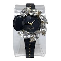 1970s Wendy Gell Glitzy Wristwatch with Black and Gold-color Band