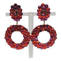 Bright Orange and Lavender Wendy Gell Dangle Hoop Clip-on Earrings