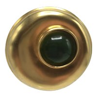 Round Gold Color Brooch with Large Green Inset Stone