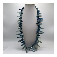 Peacock Blue Baroque Pearls and Quartz Chards Necklace