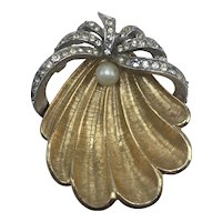 Seashell Brooch with Faux Pearl and Clear Rhinestones Signed ART