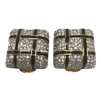 """Vintage KJL Black, Gold Color, and Rhinestone """"Squares"""" Clip-on Earrings"""
