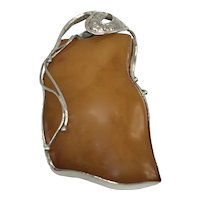 Large Graceful Sterling Silver and Amber Pin/Pendant