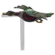Unsigned Staret or Coro 1940s Mallard Duck In-Flight Jelly Belly Brooch