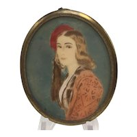 Miniature Painting on Celluloid of Woman in A Red Hat Possibly 1930s