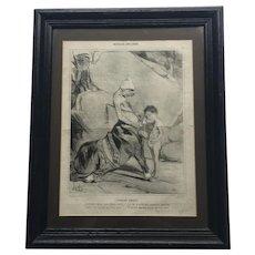 Framed Honoré Daumier Signed Lithograph on Newsprint L'Education d'Achille
