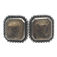 Stephen Dweck Carved Champagne Quartz and Sterling Clip-on Earrings