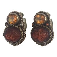 Stephen Dweck Faceted and Carved 3-Stone Clip-On Earrings