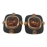 Replica Made in Italy Black Gold-Tone and Faux Topaz Clip-on Earrings