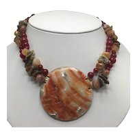 Les Bernard Spiny Oyster and Carnelian Double Strand Necklace