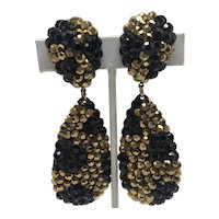 1980s H. Weisz Design Jeweled Cocktail Clip-On Earrings
