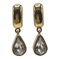 Givenchy Small Teardrop Gold-Tone and Clear Rhinestone Clip-on Earrings