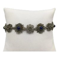 Vintage Lacy Filigree Victorian-style Link Bracelet with Blue Sodalite