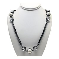 KJL Glossy Black Chain Necklace with Large Faux Pearls and Clear Rhinestones