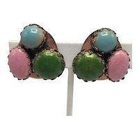 """Matisse """"Scarab"""" Clip Earrings with Pink, Turquoise, and Green Enamel on Copper"""