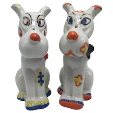 Two 1950s Lusterware  Ceramic Calico Dog Figurines with Red Mark