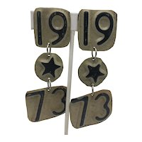 Three-Tiered 1973 License Plate Dangling Clip Earrings