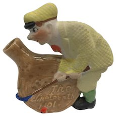 "Humorous Golfer Ceramic Figural Nipper Flask ""The Nineteenth Hole"" Japanese"