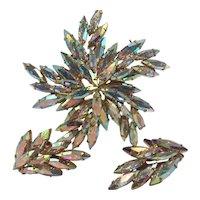 Vintage Austrian Aurora Borealis Navette Rhinestone Pin and Earring Set