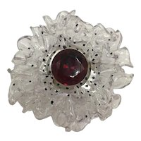 Clear Resin or Lucite Ruffle-Edged Flower with Fuchsia Center