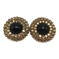 1980s Glamour Earrings with Gold-look Austrian Crystals and Back Center