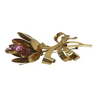 1940s Gold Vermeil Flower Brooch with Three-Stone Pink Center