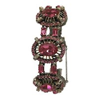 1953 Hollycraft Link Bracelet with Pink Stones and Faux Pearls