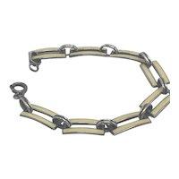 Dainty Sterling and Yellow Enamel Bars Link Bracelet