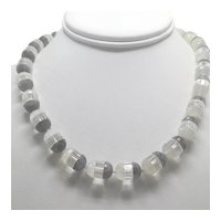 Vintage Frosted, Clear, and Smoky Crystal Bead Choker