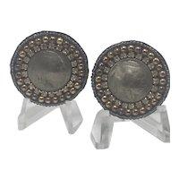 Mary B Hetz Solana Beach Indian Head Nickel Clip Earrings with Beading