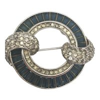 Vintage Pennino Blue Baguette and Clear Rhinestone Circle Pin