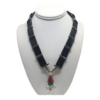 1930s Black Lacquer Necklace with Unusual Snap Closure