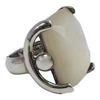 Faceted Mother-of-Pearl-Look Glass Ring in Unusual Sterling Silver Setting