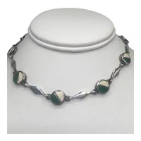 Sterling and Enamel Scandinavian Modernist Necklace with Clever Secret Clasp