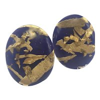 1980s Purple and Gold Foil Clip Earrings