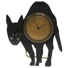 Rare Standing Tabletop 1940s or 1950s Black Cat Clock