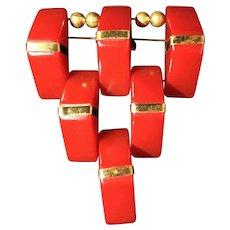 1940s Red Bakelite brooch