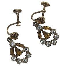 Art Deco Gold topaz and rhinestones drop earrings