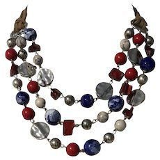 Vintage Statement marbles and silver tone bib necklace