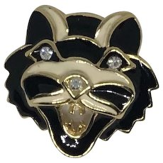 1970's Ferocious Cat Brooch enamel rhinestone, and gold tone
