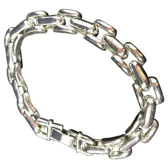 Silver Chunky Chain Cuff Bracelet.